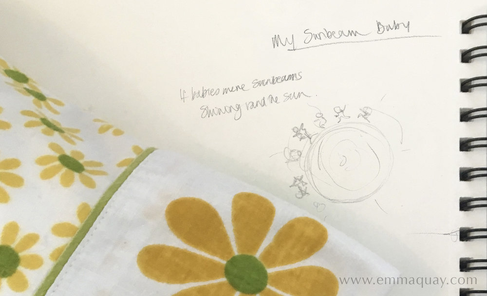 First sketches for MY SUNBEAM BABY by Emma Quay (ABC Books) - www.emmaquaycom