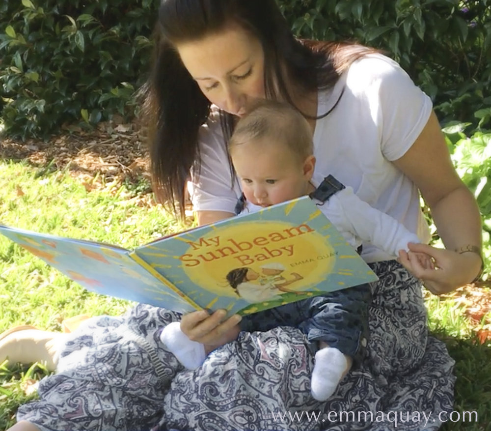 Little Ava reading SUNBEAM BABY by Emma Quay (ABC Books) - www.emmaquay.com