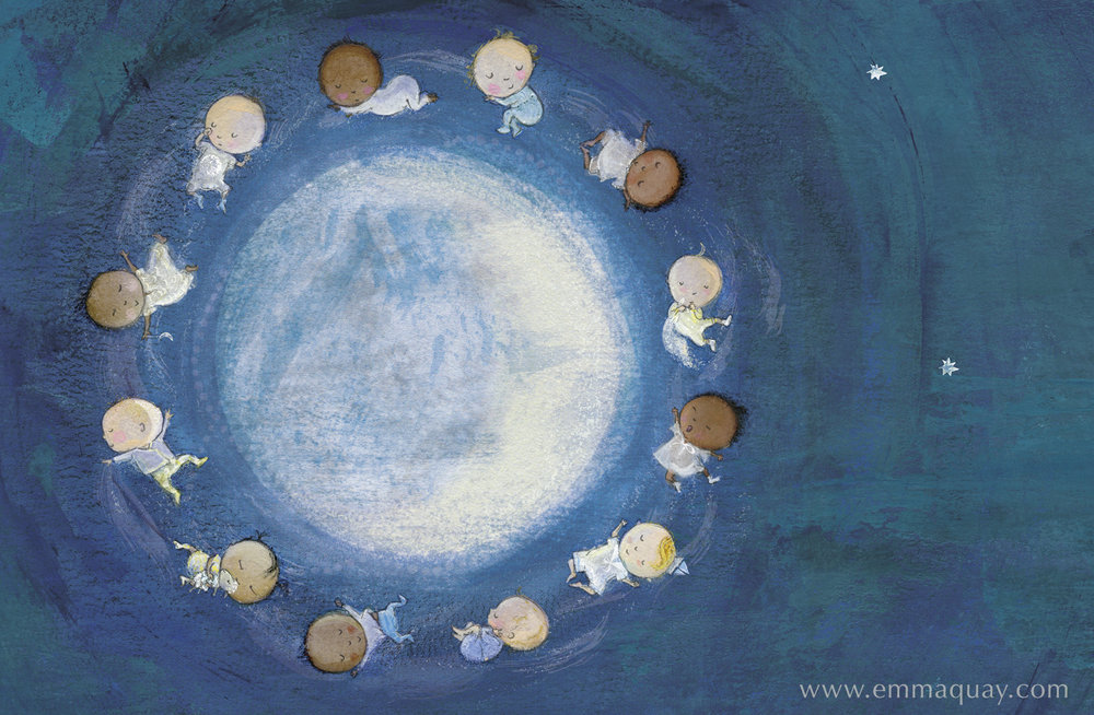 """If babies were moonbeams"" illustration from MY SUNBEAM BABY by Emma Quay (ABC Books) - www.emmaquay.com"