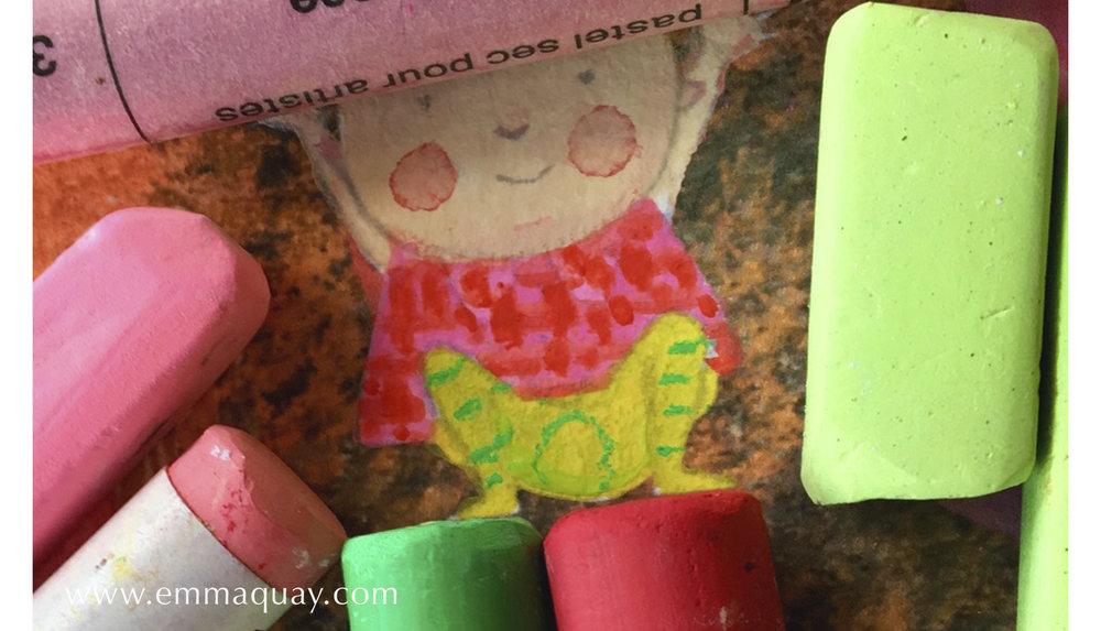 Illustrating MY SUNBEAM BABY - chalk pastels - www.emmaquay.com