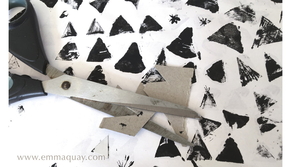 Illustrating MY SUNBEAM BABY - printing with cardboard - www.emmaquay.com