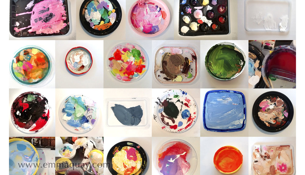 Illustrating MY SUNBEAM BABY - recycled lids as paint palettes - www.emmaquay.com
