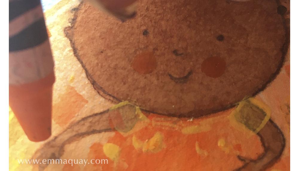 Illustrating MY SUNBEAM BABY - wax crayon - www.emmaquay.com