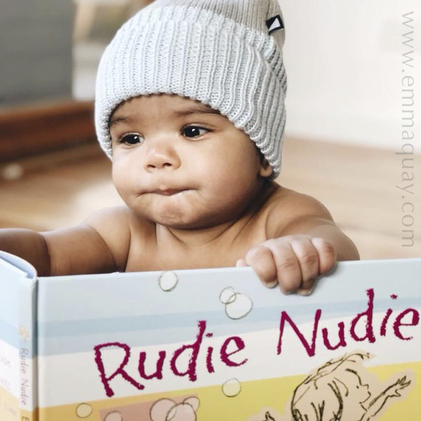 Baby Hudson and the picture book, RUDIE NUDIE by Emma Quay (ABC Books) — www.emmaquay.com