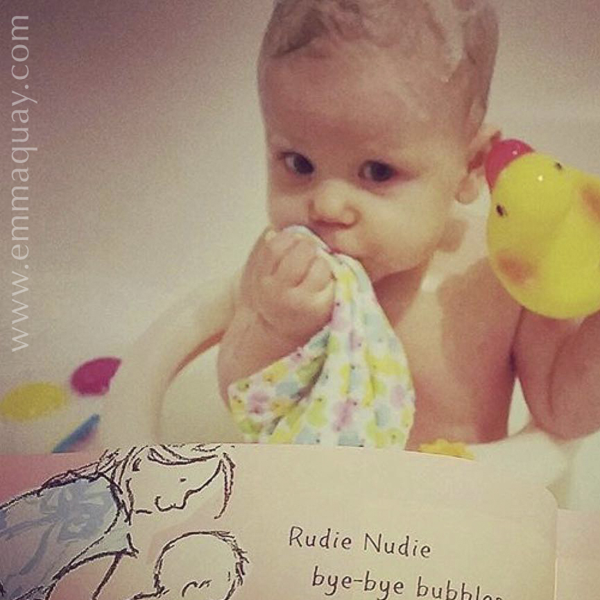 The perfect place to read RUDIE NUDIE! (A picture book by Emma Quay, published by ABC Books) — www.emmaquay.com