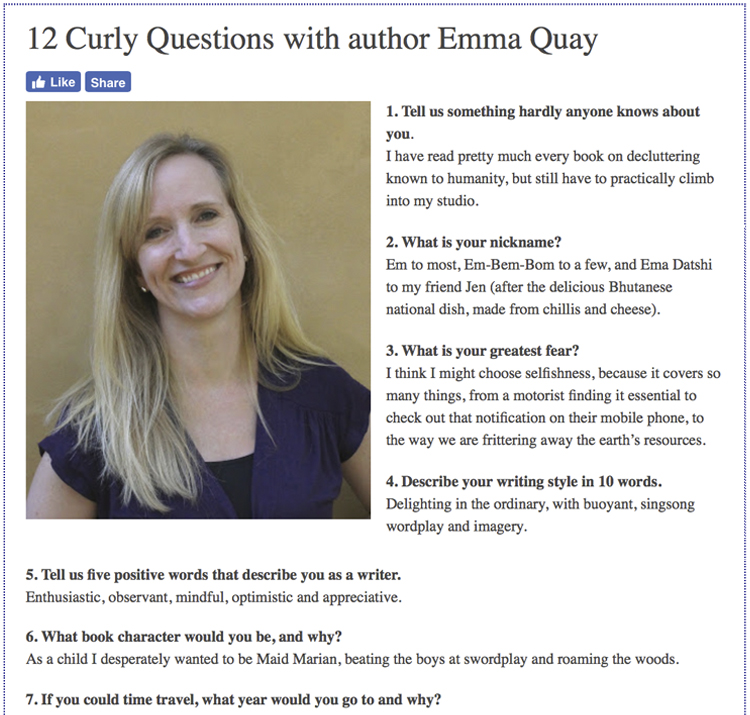 12 Curly Questions with author Emma Quay - Kids' Book Review, November 2018