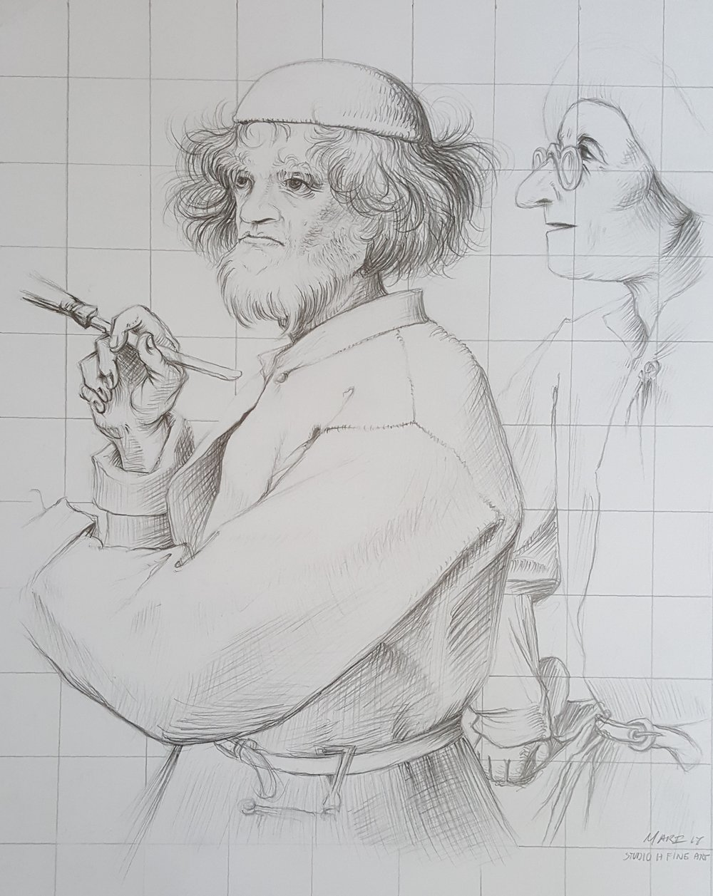 "Copy of Bruegel's ""The Painter and the Connoisseur"" (Master Study)"