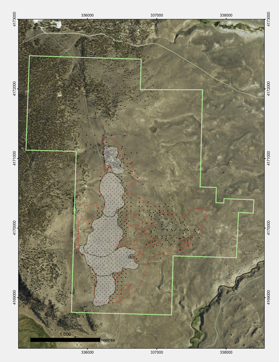 Figure: Drill collars for 876 RC, air track and rotary holes, 20 diamond drill holes for total 81,770m. The zone outlined in red indicates mineralized zones. The shaded area represents the resource and proposed pit outlines.