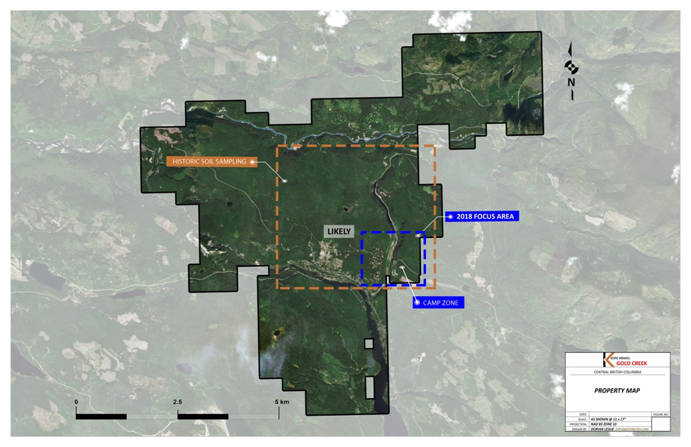 Property Map of Kore Mining's 100% Owned 9,643 Hectare, Gold Creek Project