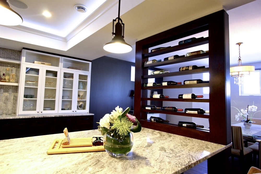 Interiors, Saskatoon, basement, renovation, interior design, wine storage, red wine, family room, construction