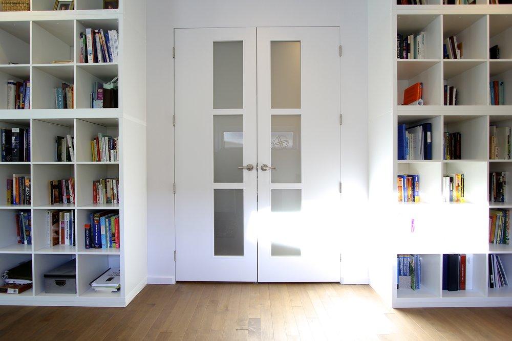 Metric Design Centre, Interior Design, Saskatoon, Renovation, Best, French doors, Bookcase, Hardwood.jpg