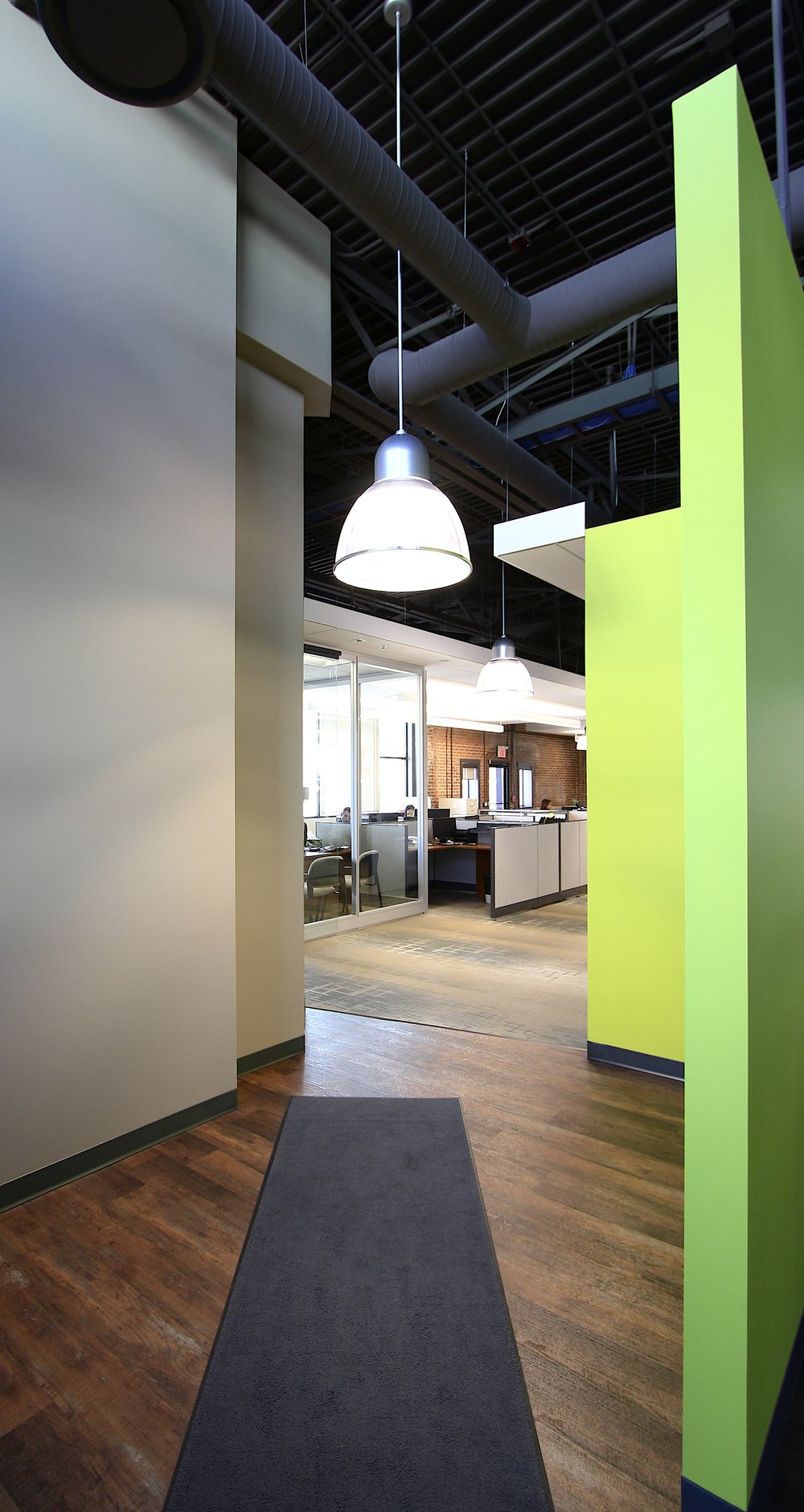 Metric Design, Interior Design, Saskatoon, Renovation, Green Wall, Wayfinding, Exposed Ceiling, Pendant Lighting, Office Lighting.jpg
