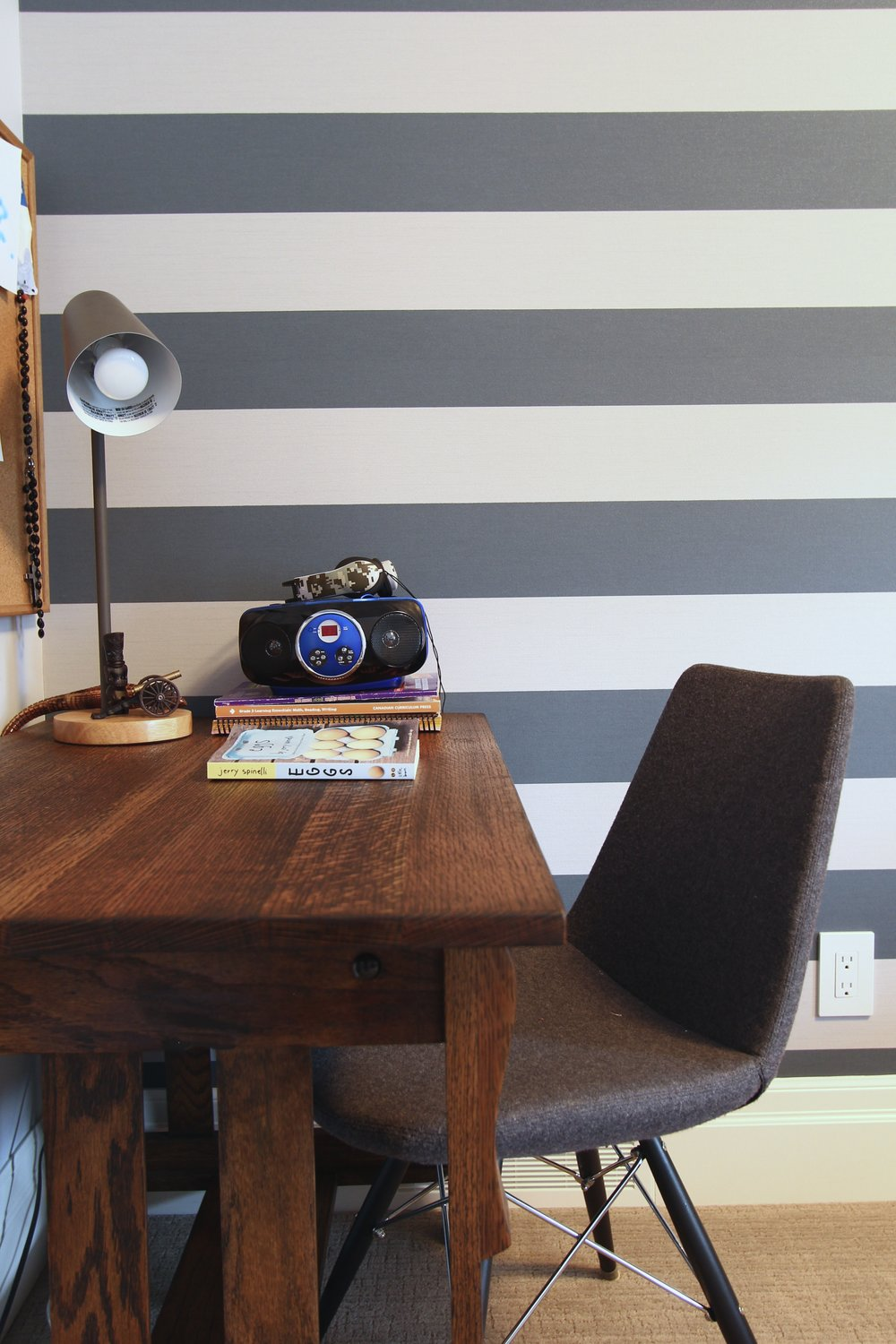 Metric Design, Renovation, Saskatoon, Interior Design, Striped wall, Wood desk.jpg