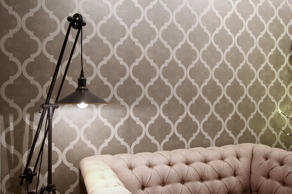 Metric Design Centre, Interior Design, Saskatoon, Commercial Design, Renovations, Steam Punk Lamp, Tufted Sofa, Renovations, Contractor, Wallpaper, Feature Wall.jpg