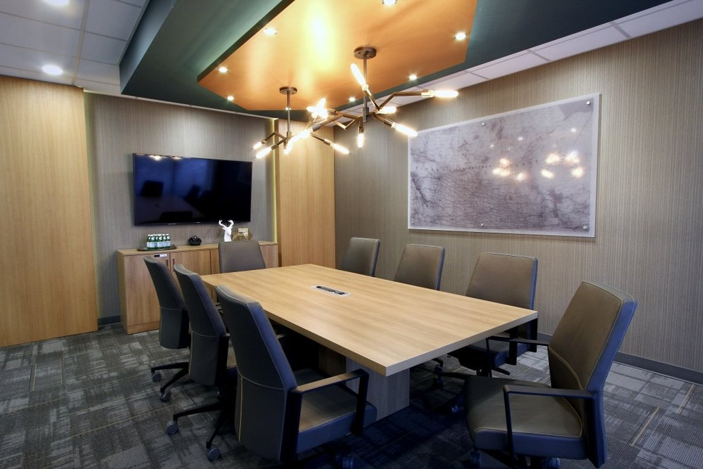metric design centre, interior design, renovation, contractor, palliser insurance saskatoon, commercial, office, boardroom, dropped ceiling, lighting, ceiling mount, wall covering.jpg