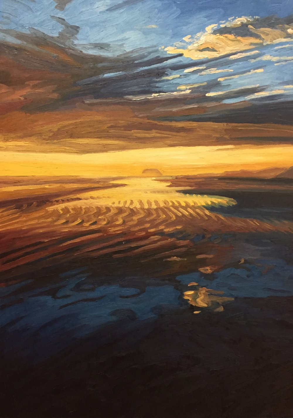 Golden Sunset  54x36  Oil on Canvas  2000