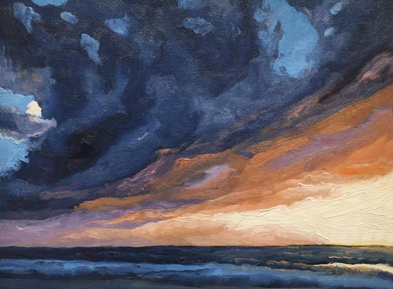 Blue Gold Sunset      9x12      Oil on Canvas        2006