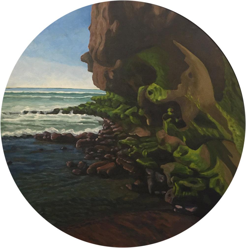 """Neptune's Rise  28"""" Tondo  Oil on Canvas"""