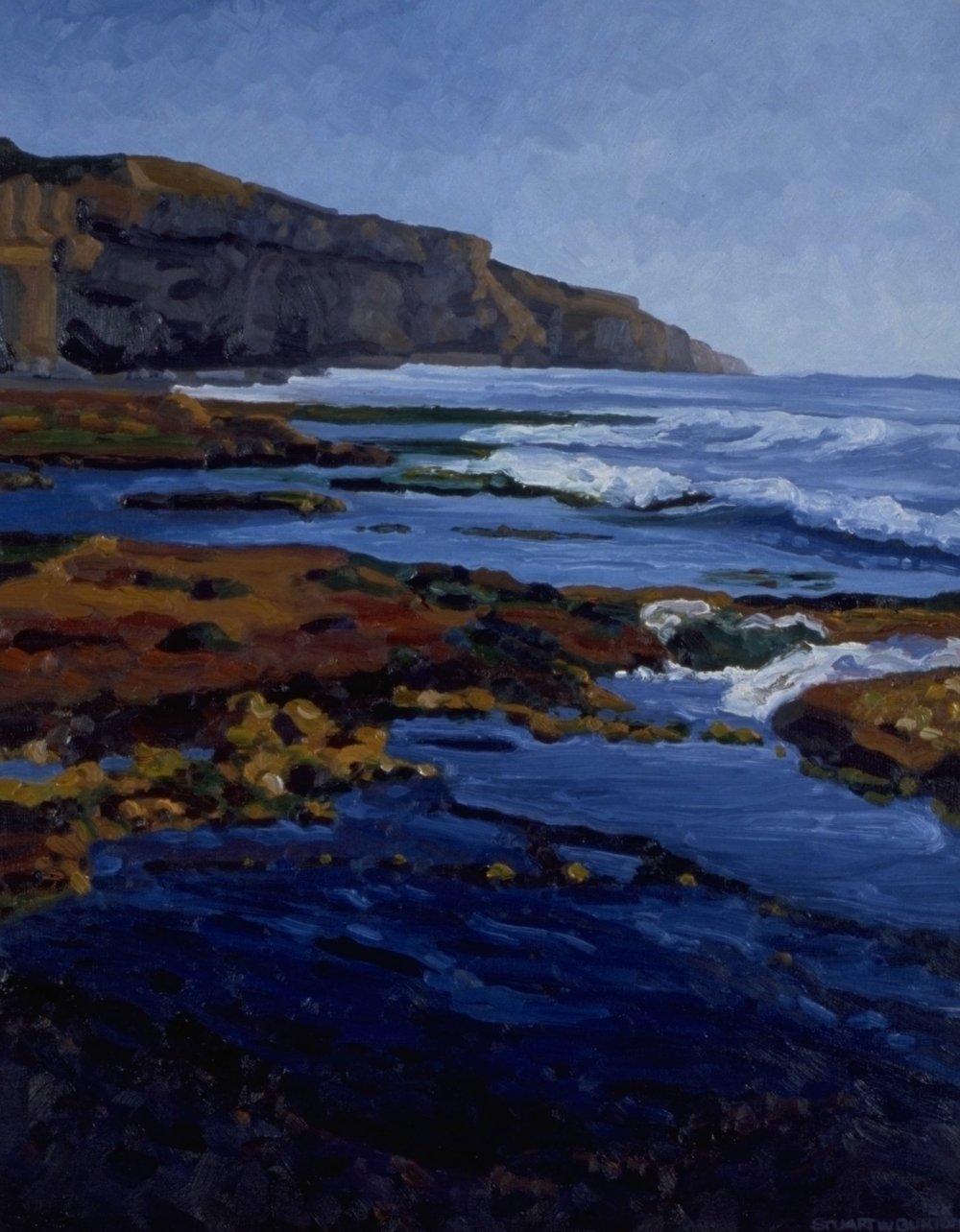 Deep Blue, Sunset Cliffs  36x28  Oil on Canvas  2002