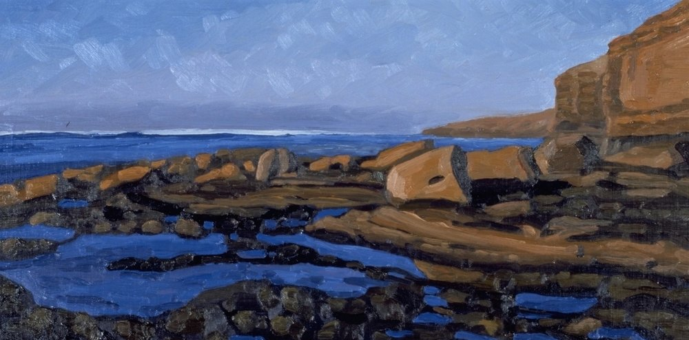 Rock Pile, Sunset Cliffs  12x24  Oil on Panel  1998