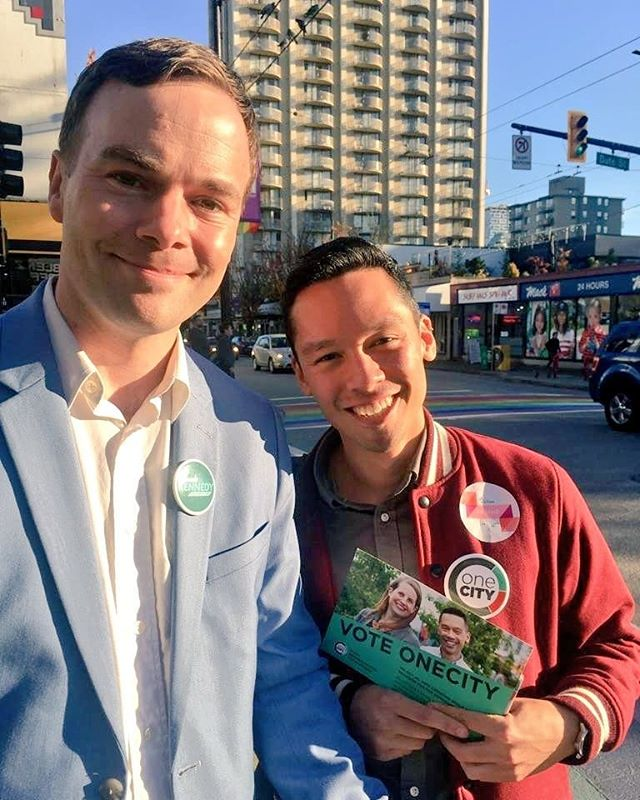 Just talking to voters with Spencer Chandra Herbert (plus the lovely Romi stopped by with baby Dev). I love having the support of one of our hardest working MLAs! #vanpoli #vanelxn18