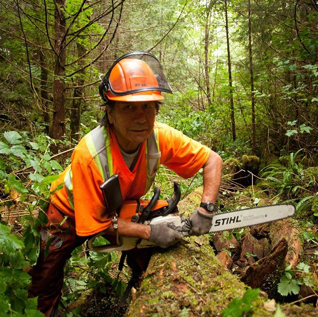 "Meet Charles ""Chuck"" Mack, Toquaht band member, chainsaw maestro and all around great guy. . . A former logger, Chuck has been working on habitat restoration with CWFS since our early days. His skills and experience have been an invaluable asset to our society, routinely outpacing crew half is age. . 📷 @jeremykoreski  #fortheloveofwildsalmon #tofino #ucluelet #restore"