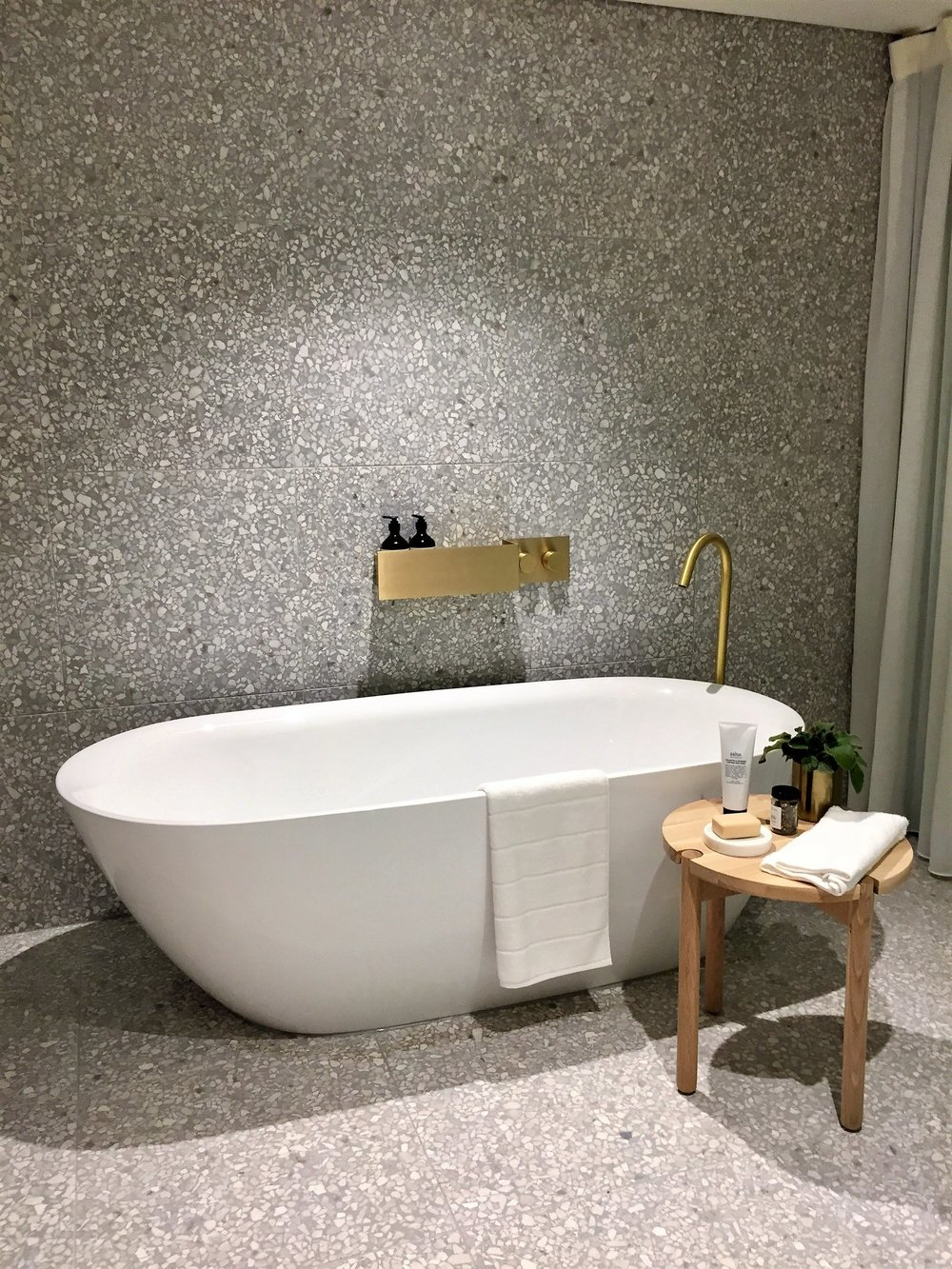 Terrazzo Acier with White Marble Tile