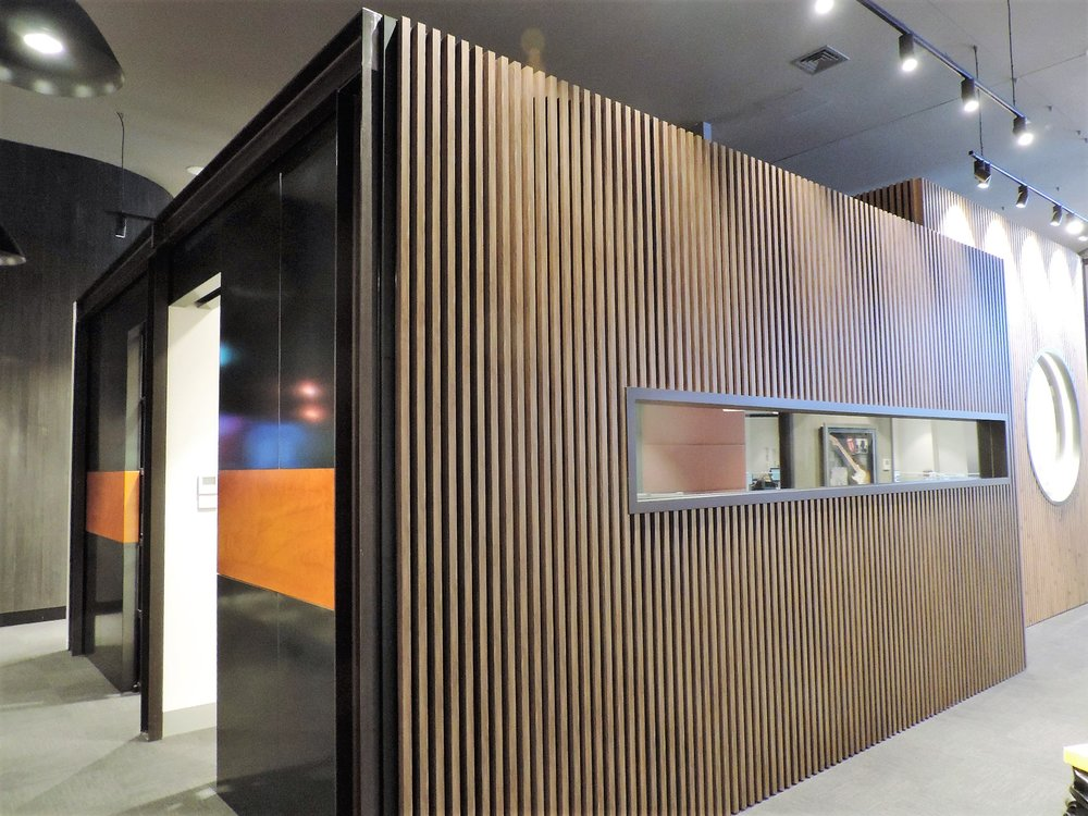 Boardroom Fitout - Richmond VIC Ever Art Wood® battens - Koshi 30x50mm standard hollow section in Buraun Eboni