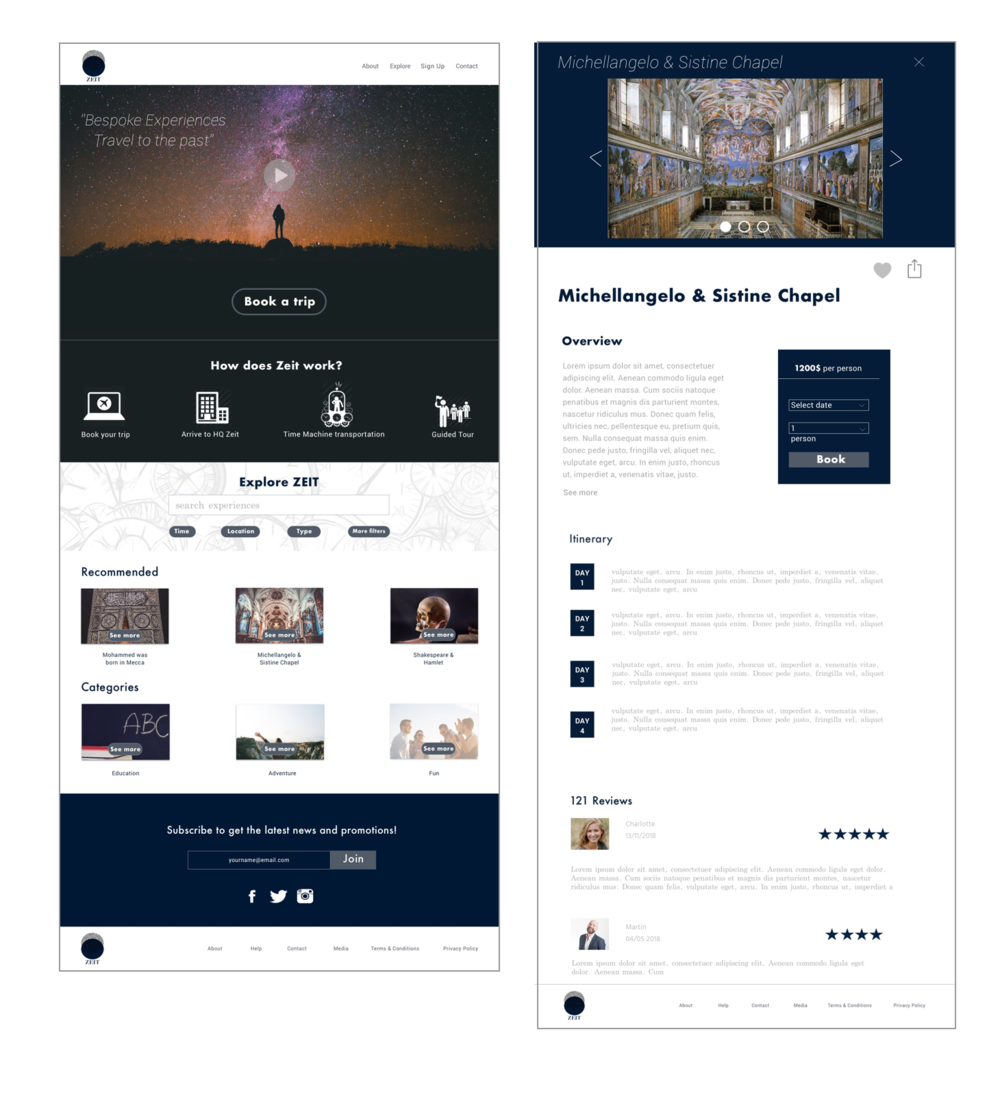 WEBSITE WIREFRAMES: DESKTOP