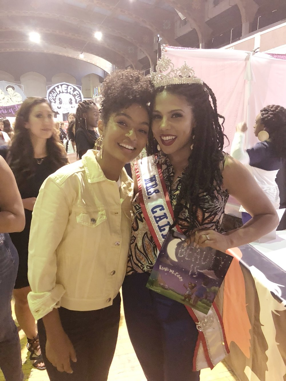 Author Kristi Eddy with actor Yara Shahidi -