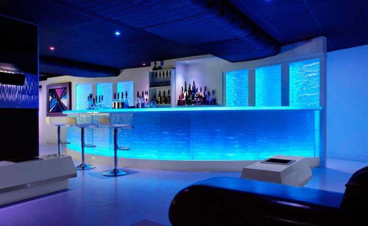 LED backlighting for a cast glass bar in Denver, CO