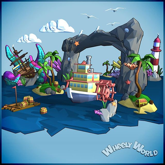 💙🐙🌊🐳☁🌞 . . . . . #wheelyworld #cloudlandstudios #endlessroller #indie #indiegame #indiestudio #southaustralia #mobilegames #android #ios #indiedev #lowpoly #artofinstagram #gamersofinstagram #artistsoninstagram #gamer #unity #unitygames #diorama #monstermode