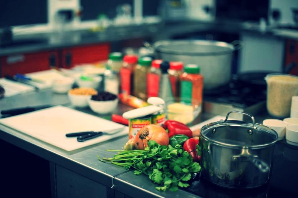 Kitchen social prep station spices