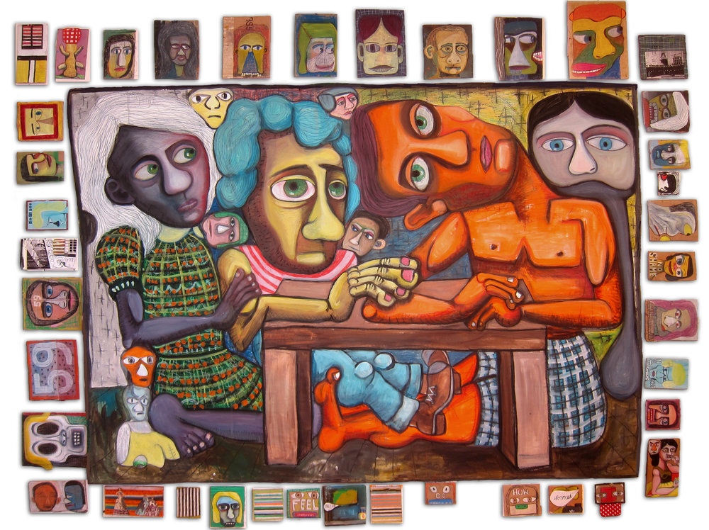 "Kitchen Table, 84""x 108"", oil on paper and cardboard"