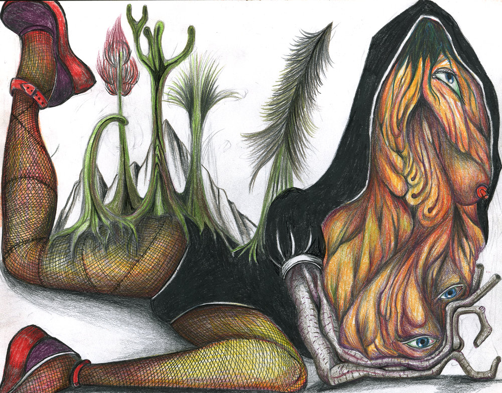 "Florine in leotard hoodie with prerhistoric forest, 11""x 8"", color pencil on paper"
