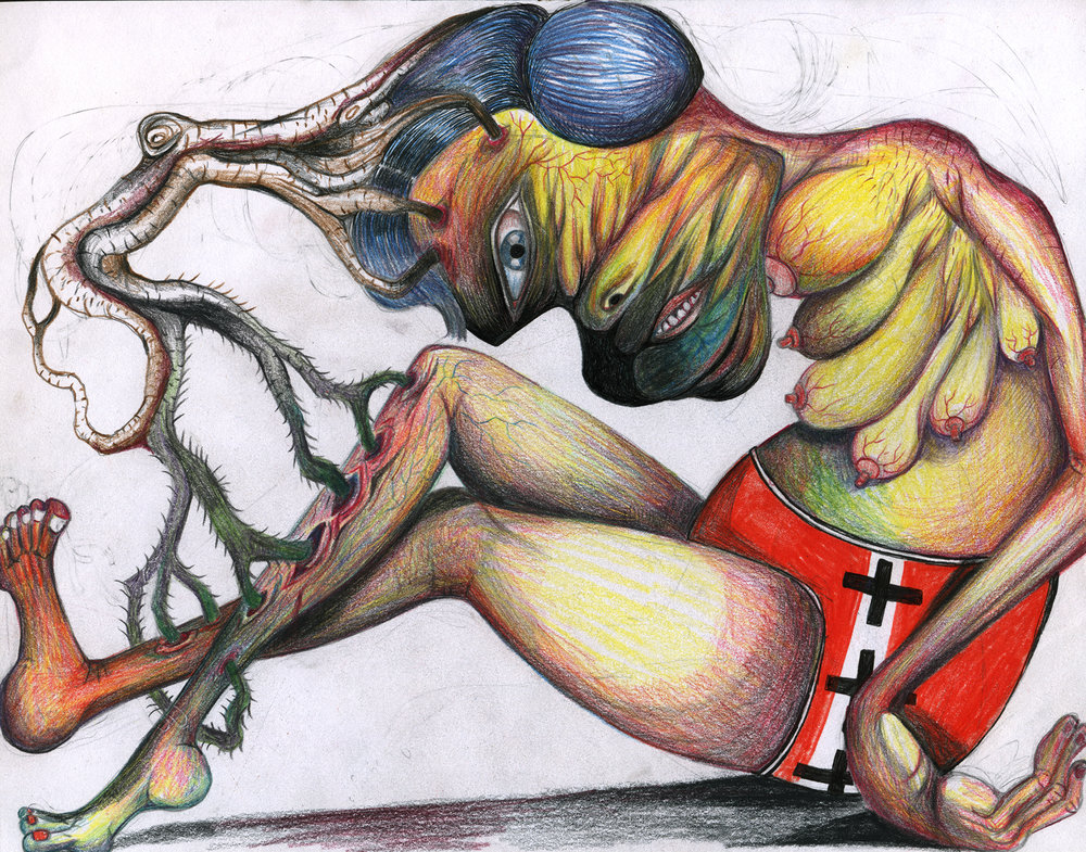 "Florine after being penetrated by a tree,becomes pregnant and grows 6 breast, 11""x 8"", color pencil on paper"
