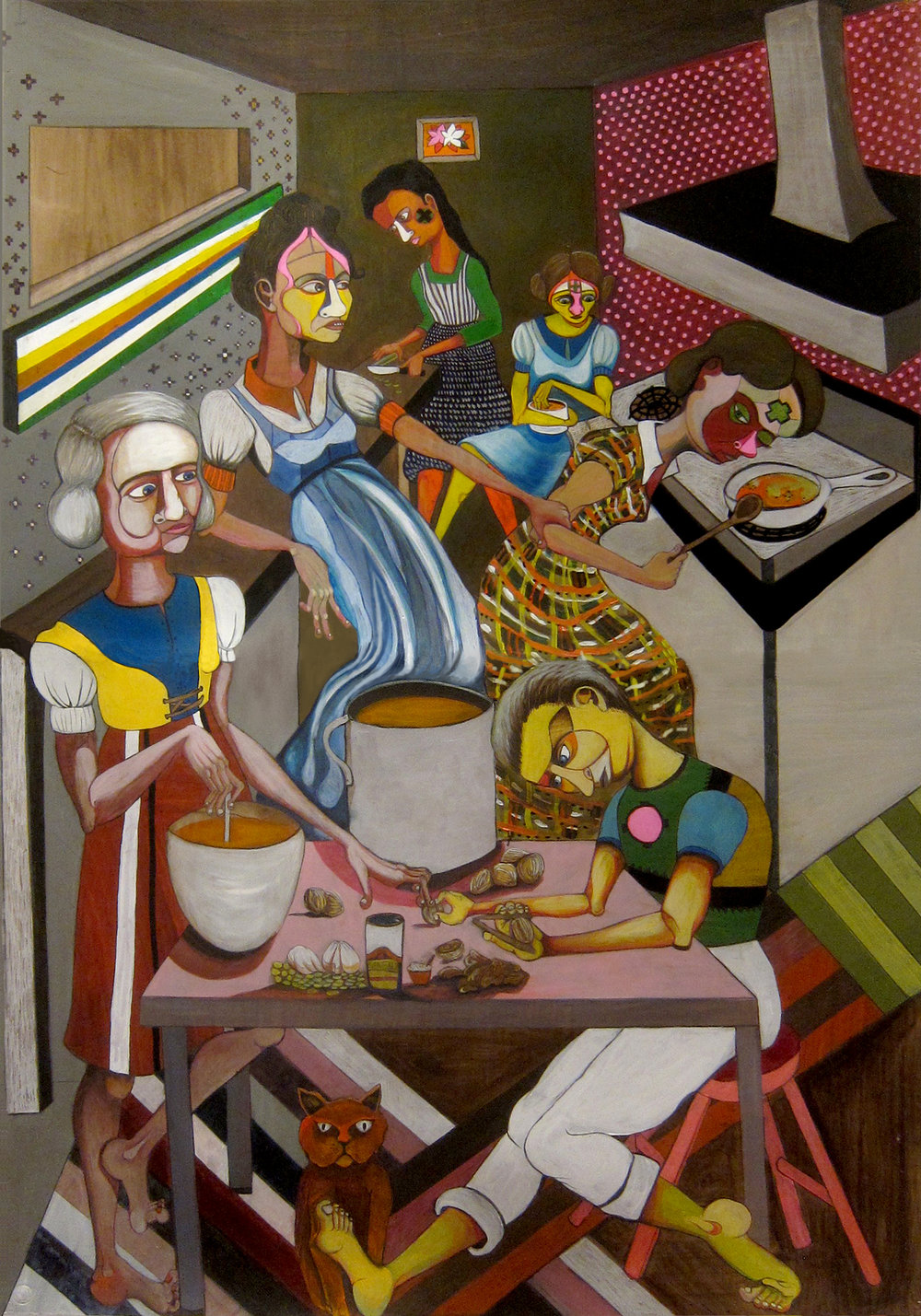 """The Soup Makers, 40""""x 60"""", color pencil and oil on paper"""