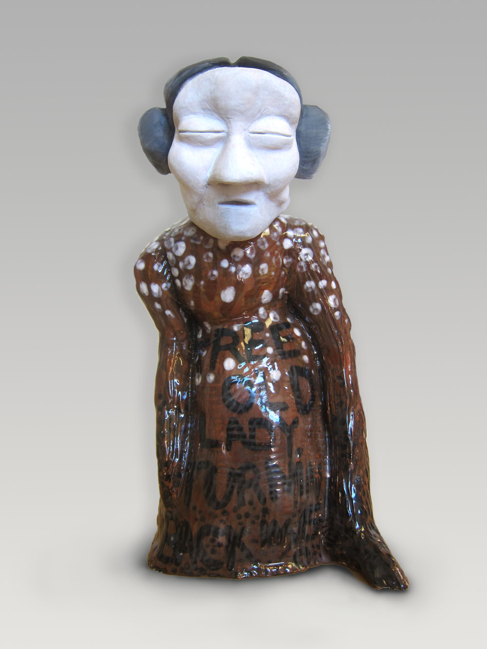 "The Old Lady, 9""x4""x3"", glazed porcelain and acrylic paint"