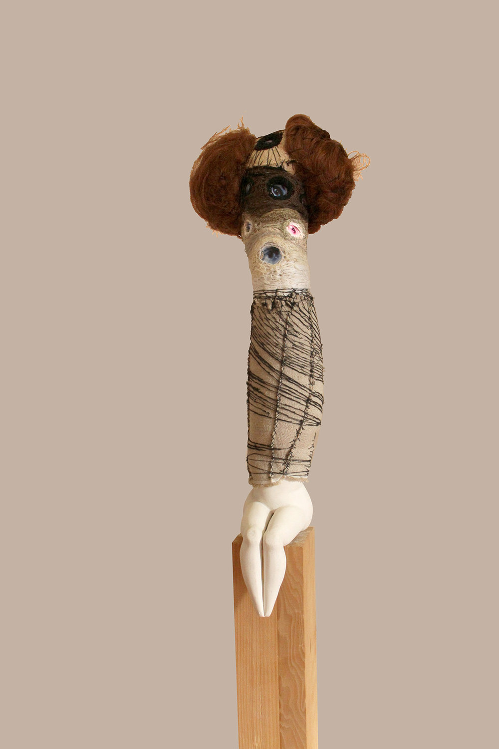"Florine and her ancestors, 56""x4""x7"", high-fired stoneware, muslin, thread, hair and photos"