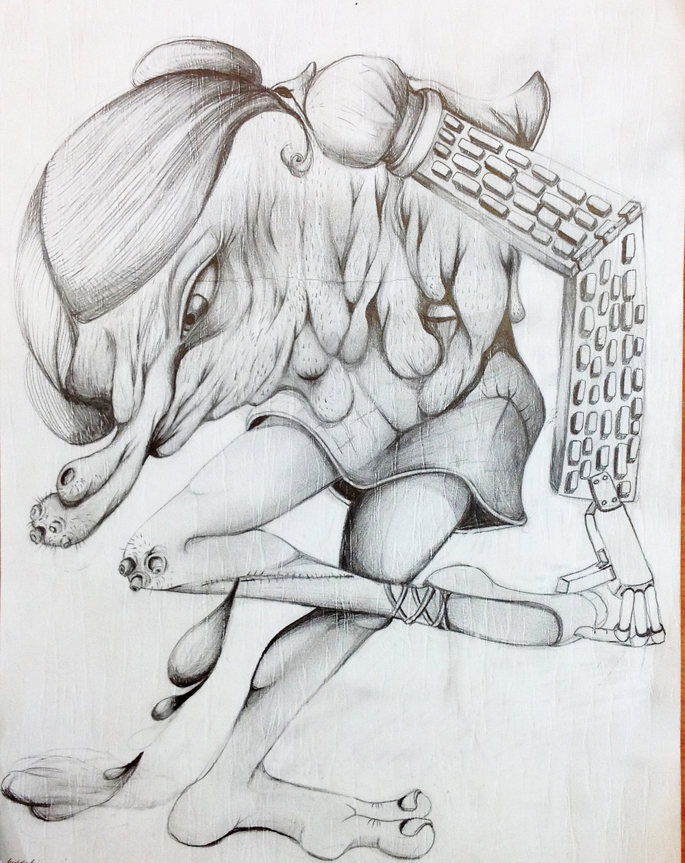 "Florine as dancer, 8""x 11"", pencil on paper"
