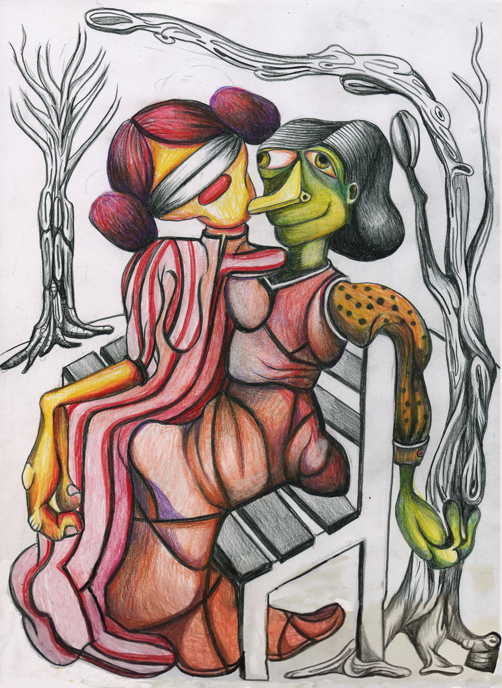 """Friendship and consultation, color pencil on paper, 8""""x 11"""""""