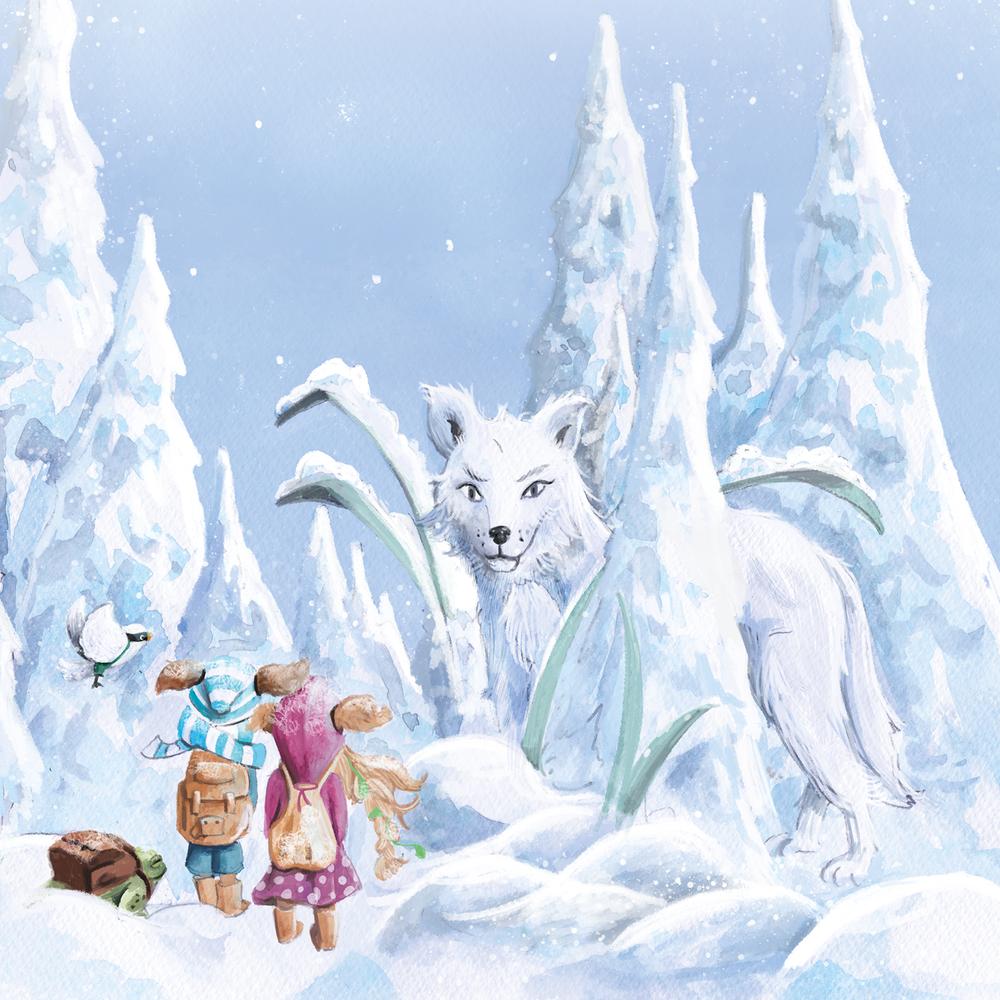 Dieses Bild zeigt einen weißen Wolf, der als Wächter und Beschützer der Weisen des Nordens fungiert. Wird er Flohling und den Rest der Gruppe unterstützen?