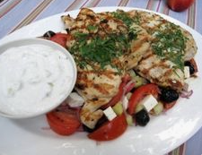Chicken Paillard With Greek Farmer S Salad And Tzazaki Elizabeth Karmel