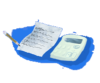 Notepad and calculator illustration