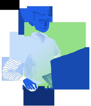 Boy on computer illustration
