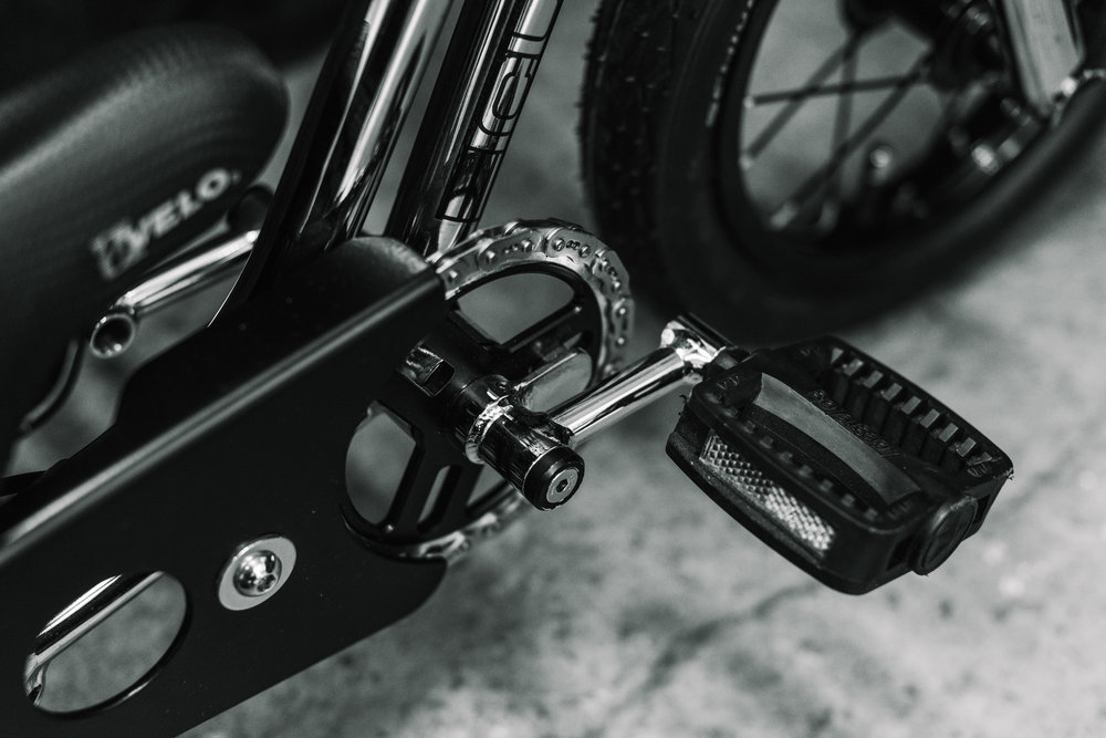 Bespoke chain guard and cranks.