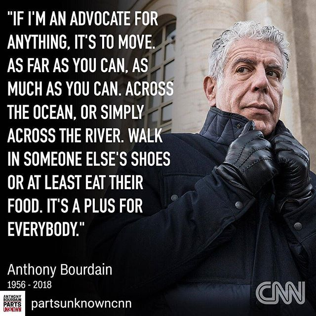 Jeff and I bonded over No Reservations. We've traveled, seen and eaten based on his commentary. We connect with people through food and culture. His outlook on life resonated with many, ourselves included. Saddened to hear of his passing. • • • • • #anthonybourdain @partsunknowncnn #rip #travel #food #culture #mentalhealthawareness