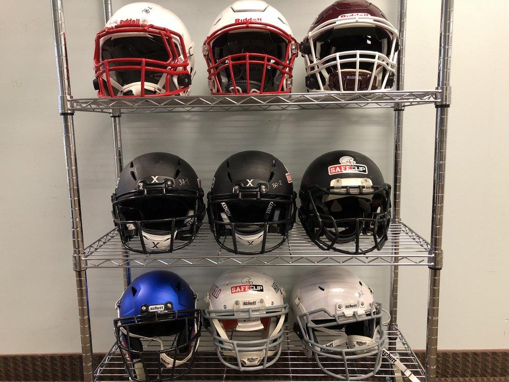Mayfield Athletics various testing helmet setups (2018)