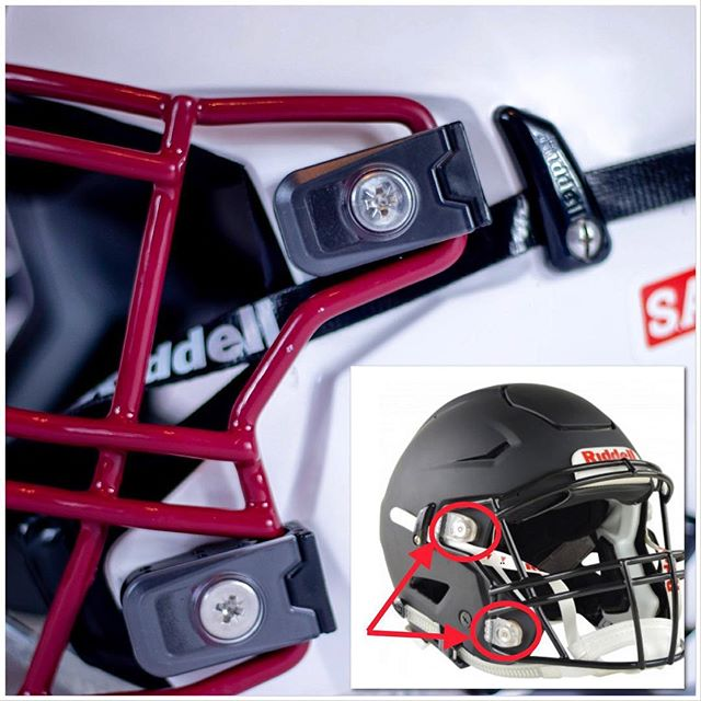 """Ever had someone tell you it's illegal to alter your helmet, it violates warranty, or that it loses its """"certification""""? That's simply not true, the same way a screen protector for your phone or new tires on your car don't void that products warranty. Know the facts! @safe.clip reduces the impact to the player and is completely legal. . . . #saferfootball #safetyfirst #americanfootball #playsmarter #highschoolfootball #nfl #nfldraft2019 #customfootballhelmet"""