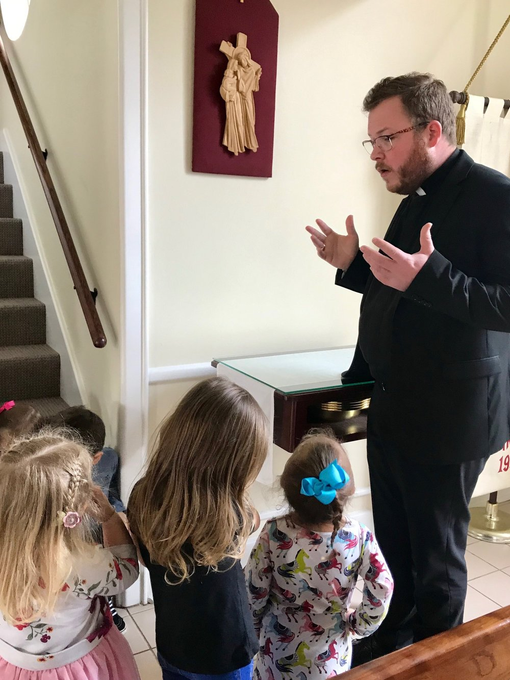 Learning about Lent - and the Stations of the Cross. Fr. Cooper Morelock helps the children understand the God's great love for us by taking them on a children's journey through Jesus' last moments on Earth.